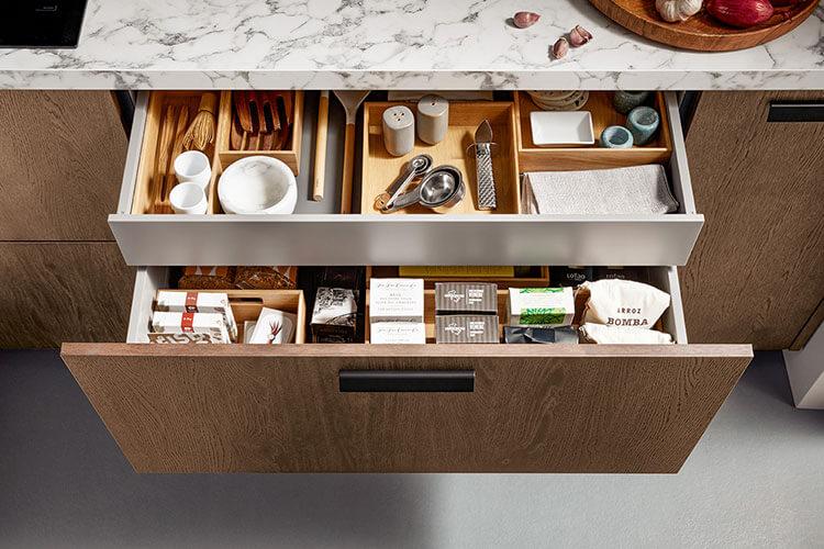 Rocco Schublade Auszug in Holzoptik für Besteck und Gewürze